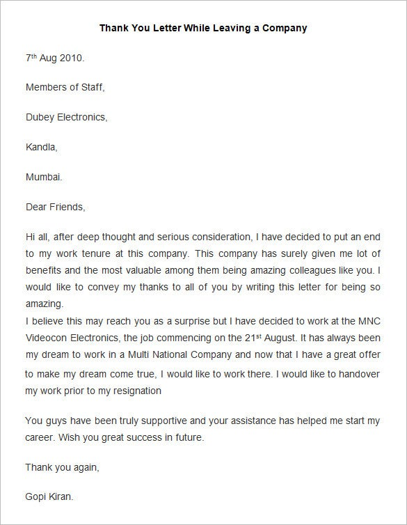 Employee Thank You Letter Template While Leaving A Company