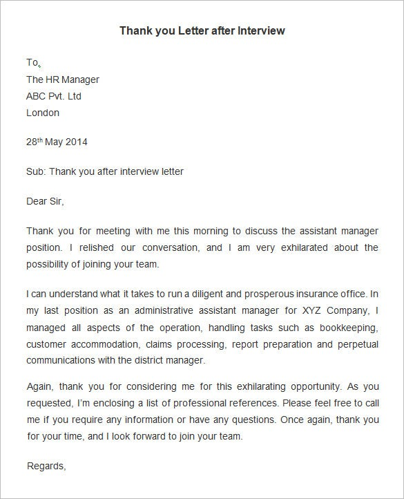 Wonderful Employee Thank You Letter Template After Interview