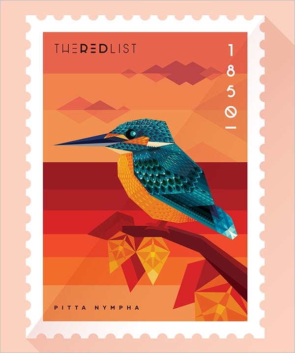 the red list stamps template
