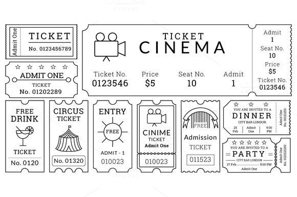 This Template Pack For Movie Ticket Templates Is Perhaps The Most  Minimalistic One Of The Entire Lot. It Contains All The Specific  Information Alongside ...  Movie Ticket Templates For Word