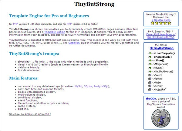tinybutstrong template engine for php
