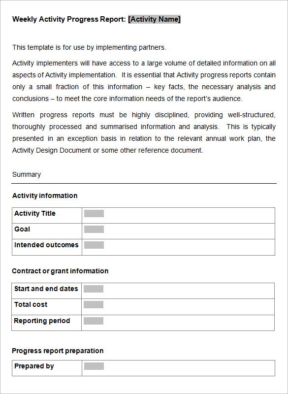 Weekly Activity Report Template   Free Word Excel Ppt