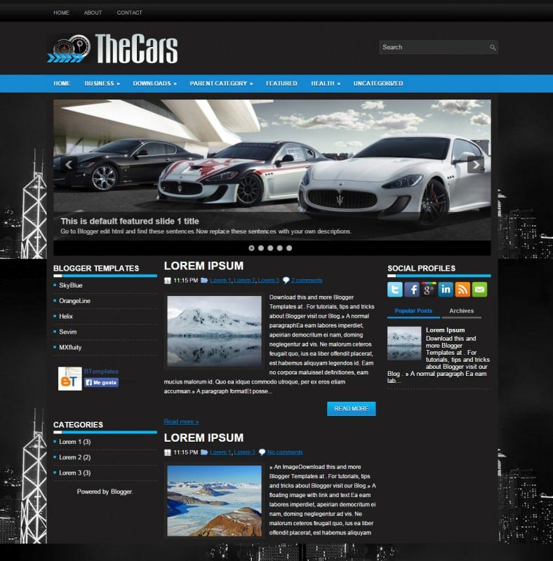 top cars automobile responsive blogger template 788x800