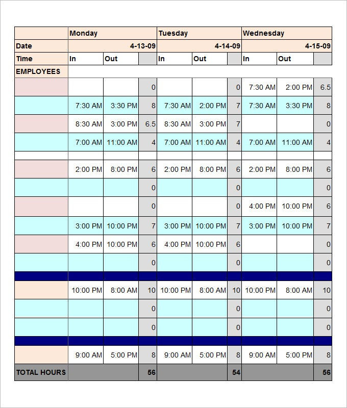 total employee work schedule template