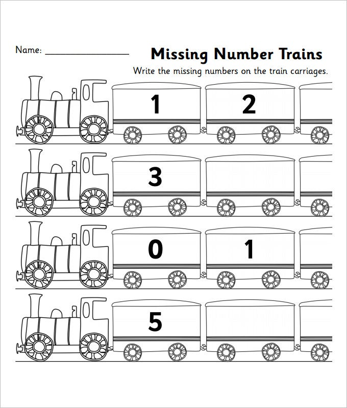 train missing numbers worksheet template