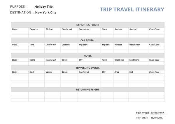16 free itinerary templates travel wedding vacation meeting