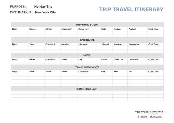 32 travel itinerary templates doc pdf free premium for Blank trip itinerary template