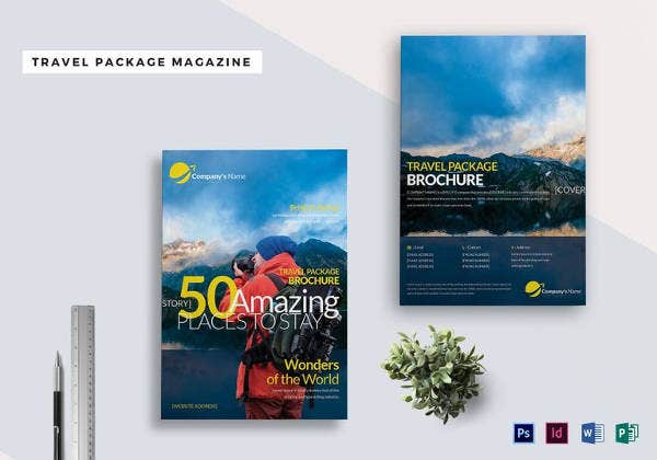 travel package magazine cover page template