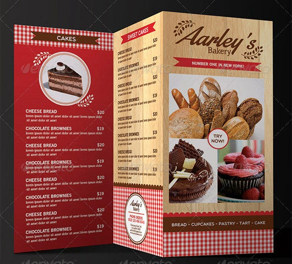 trifold bakery menu template