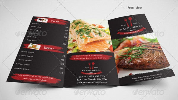 trifold food menu template free
