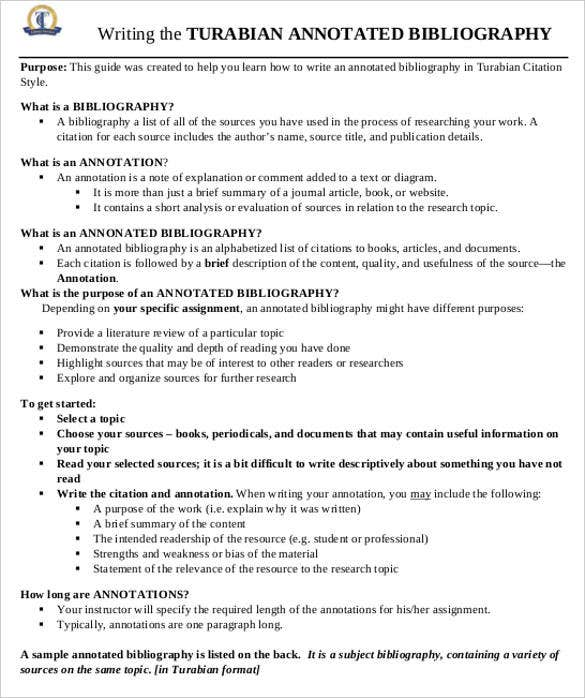 Annotated Bibliography Templates  Free Word  Pdf Format  Free