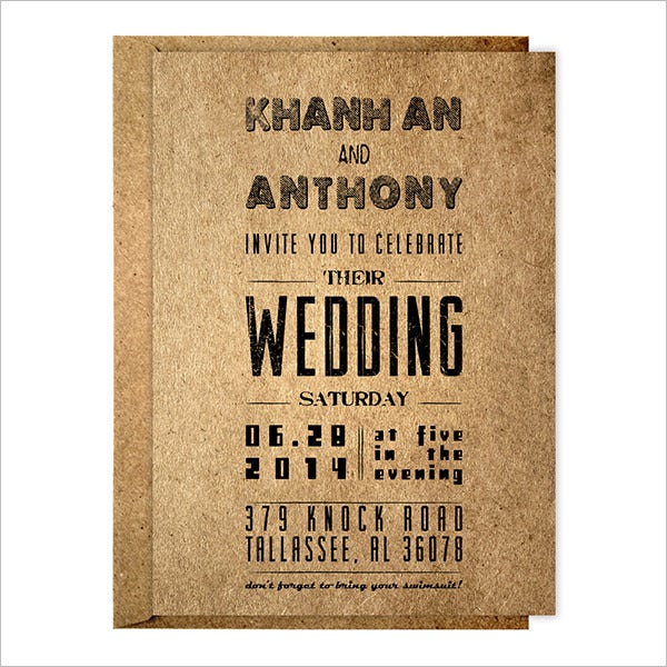 typrgraphy wedding shower invitation template