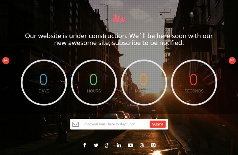 ux free responsive coming soon page html5 template 788x513