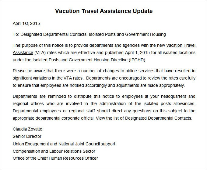 vacation travel assistance update notice