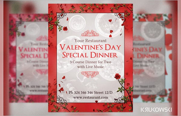 valentines day dinner for two menu template