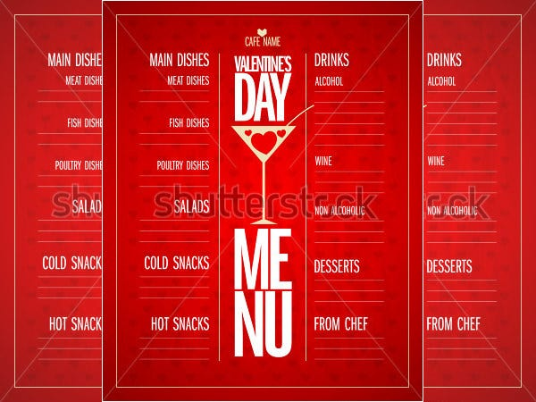 valentines day menu card list design