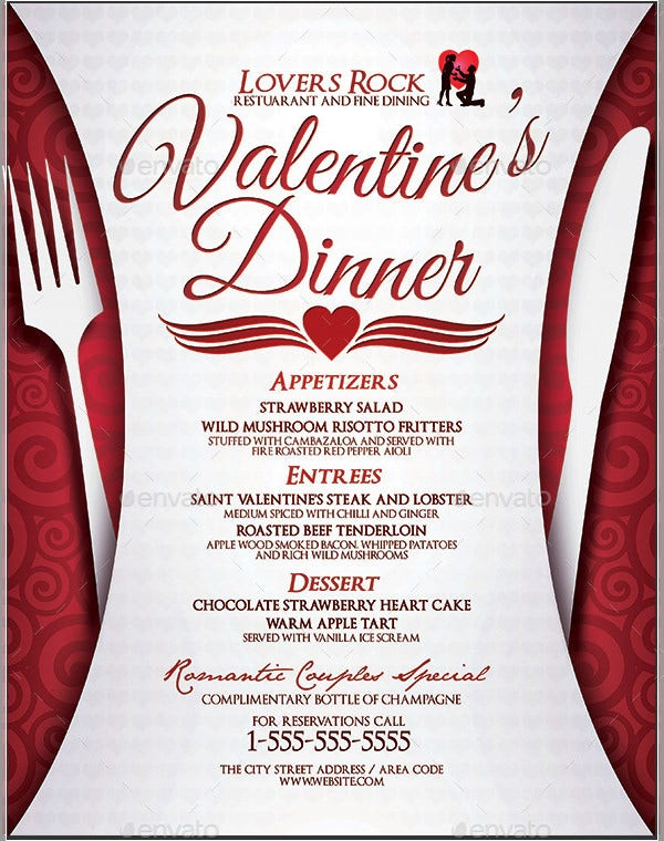 Valentines Dinner Menu Template