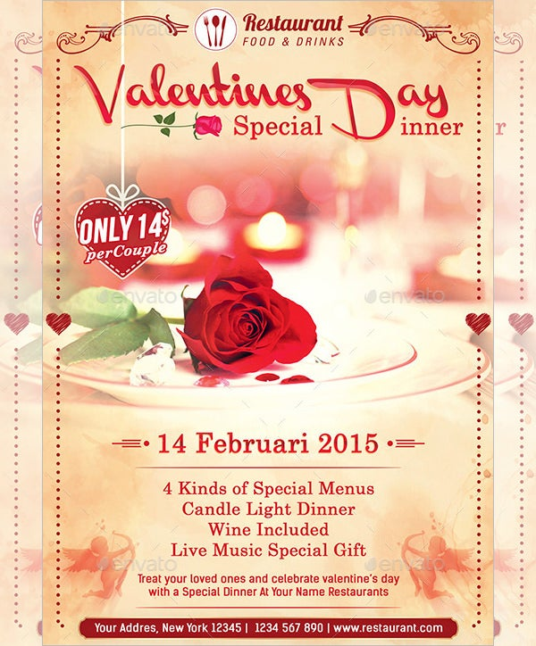 valentines promotion special dinner menu template
