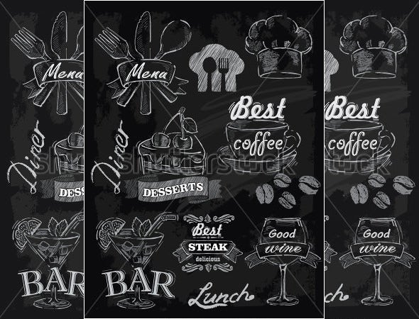 vector chalk lunch menu set on chalkboard background