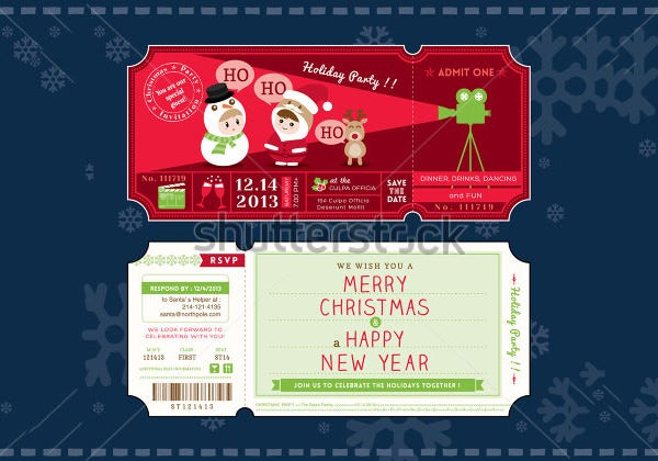 Vector Christmas Party Ticket Invitation Template  Printable Ticket Invitations