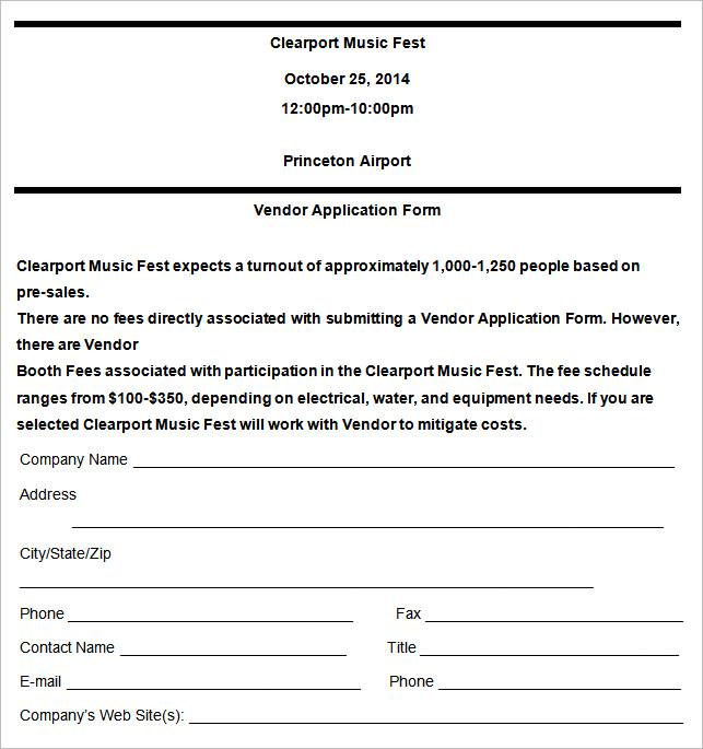 Doc680712 Vendor Form Template Vendor Application Template 12 – Vendor Form Template