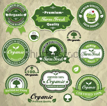 vintage organic food label template