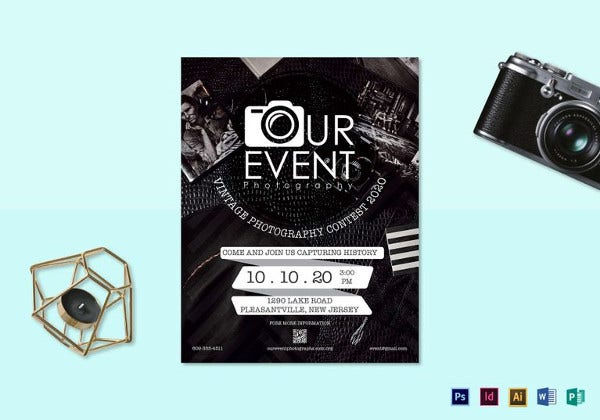 vintage photography event flyer in psd format