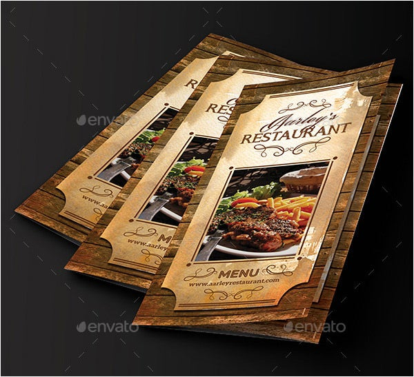 vintage restaurant menu card trifold