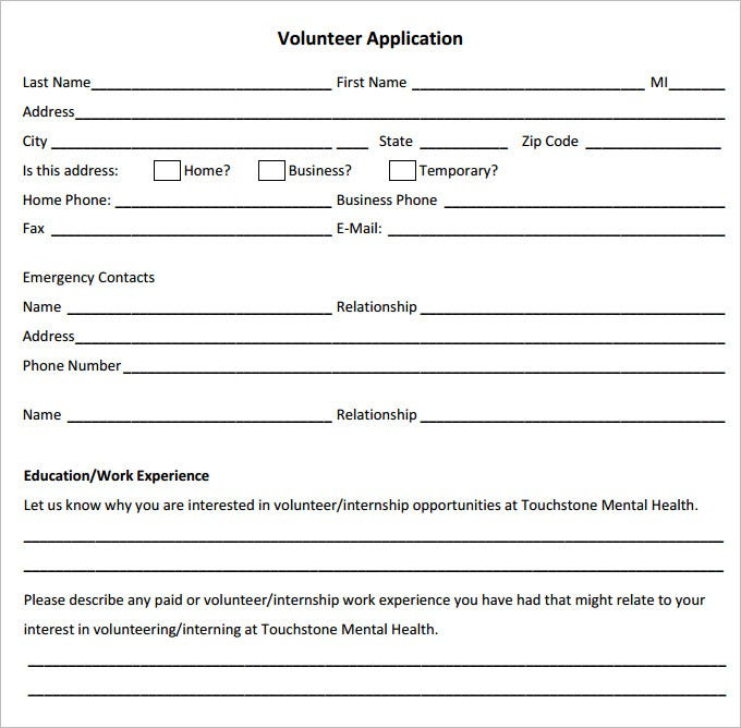 volunteer application template download