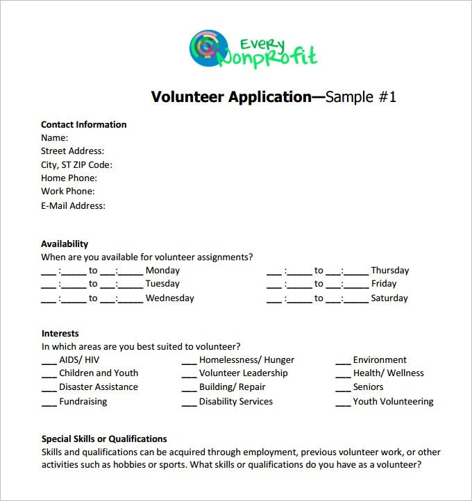 10 volunteer application template word pdf free premium