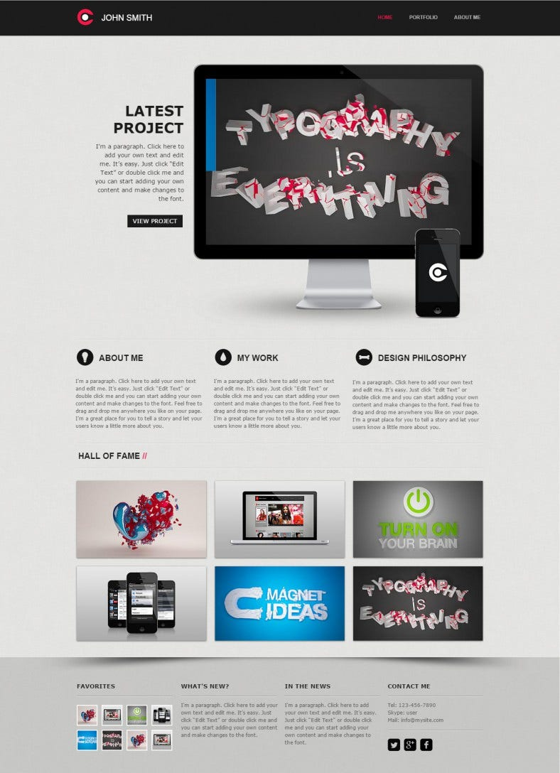 10 best web developer website templates free premium for Free html portfolio templates