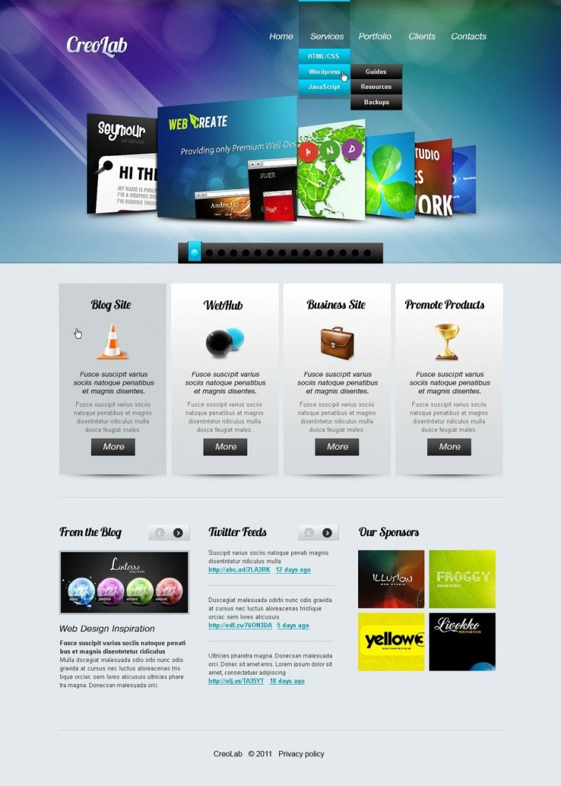 web development template with html5 jquery 788x1103
