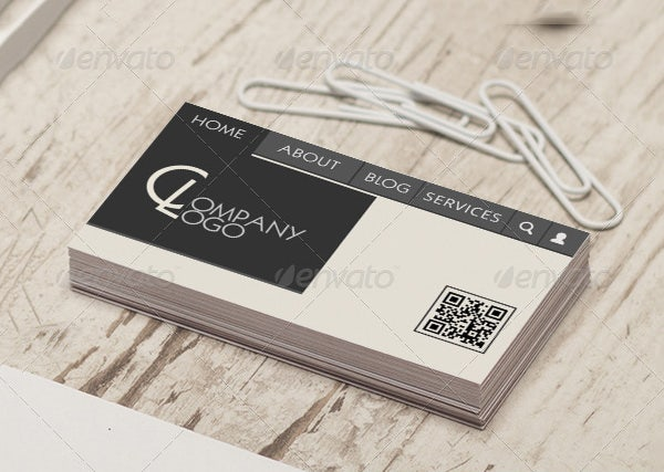 web menu style business card