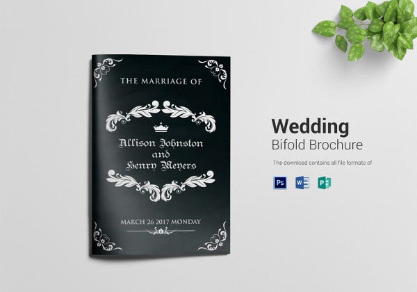 wedding bi fold brochure design template