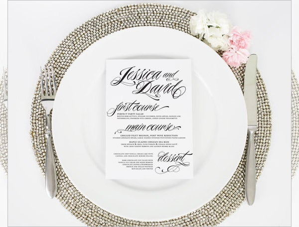 wedding dinner ravishing script menu template