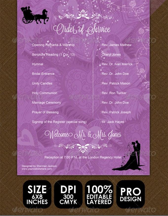 wedding items programme sheet order of service