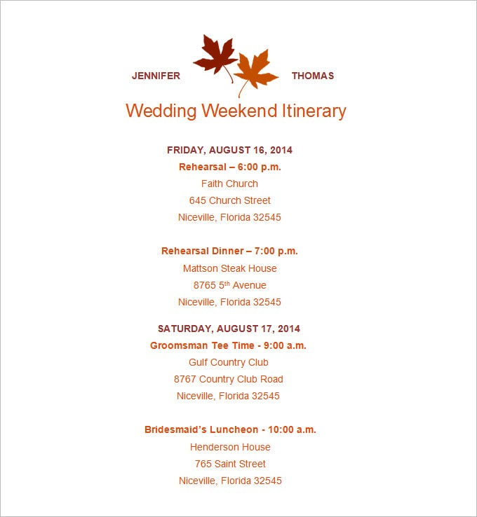 Wedding Weekend Itinerary Template 7 Free Word PDF Documents – Wedding Agenda Template