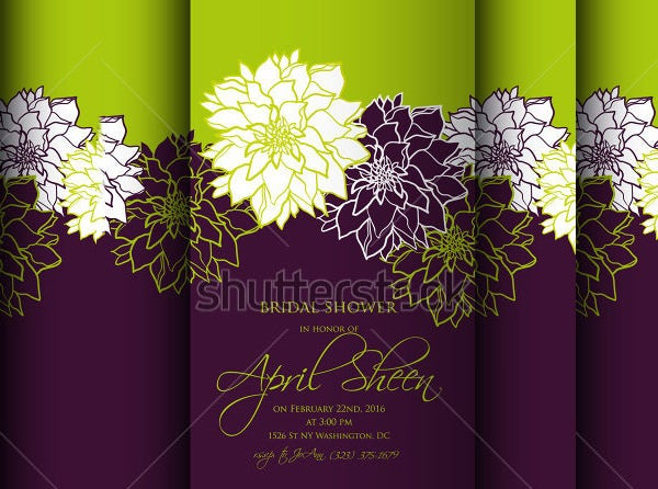 wedding shower invitation template floral background