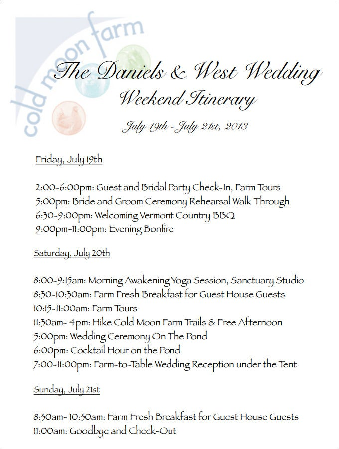 Wedding Weekend Itinerary Template Pdf Download