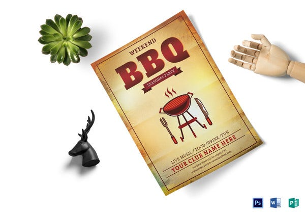 weekend bbq seasonal party flyer template1