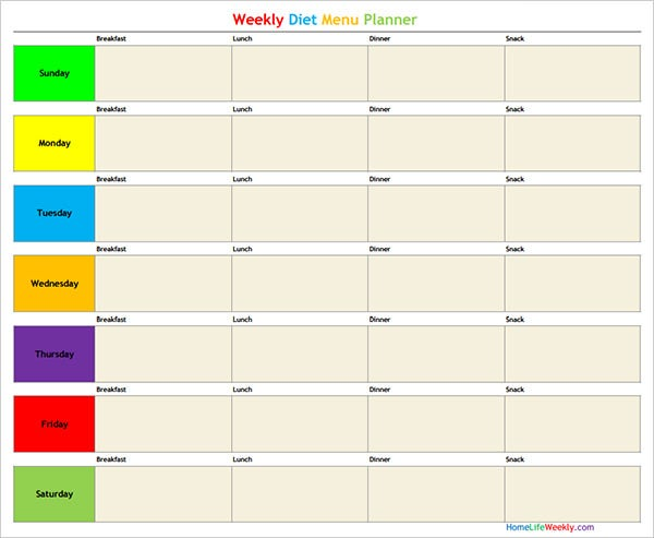 weekly diet menu planner
