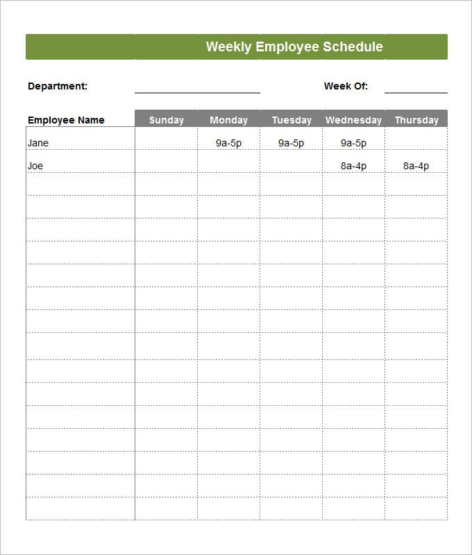 Weekly Employee Schedule Template  Monday To Sunday Schedule Template