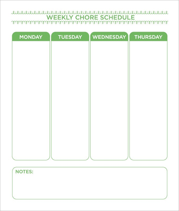 weekly schedule chore chart template