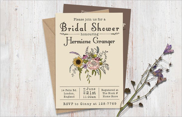 wildflower wedding shower invitation template