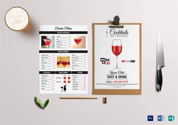 wine drinks menu template psd