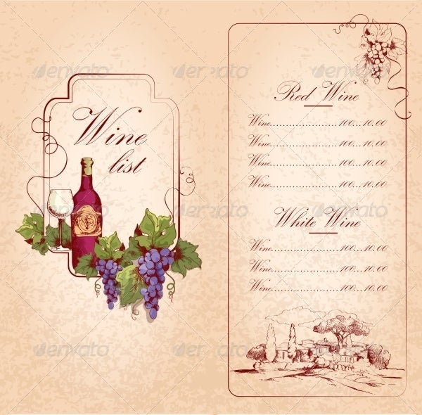 Wine Menu Template Download  Free Wine List Template