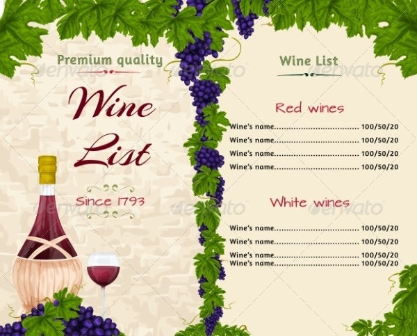 Wine Menu Template Free  Free Wine List Template