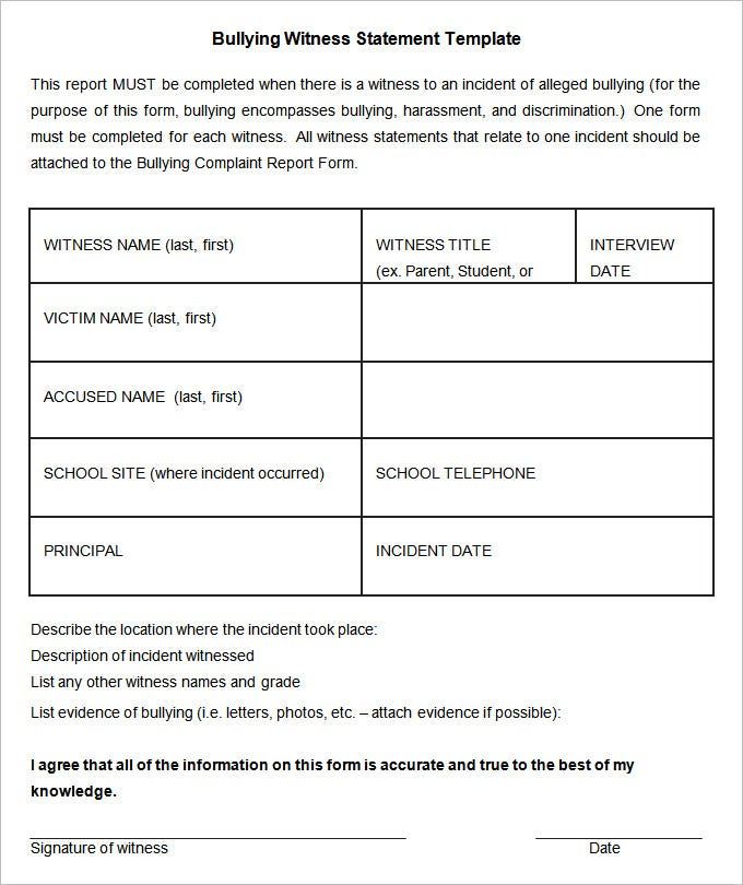 9 witness statement templates free word pdf documents download