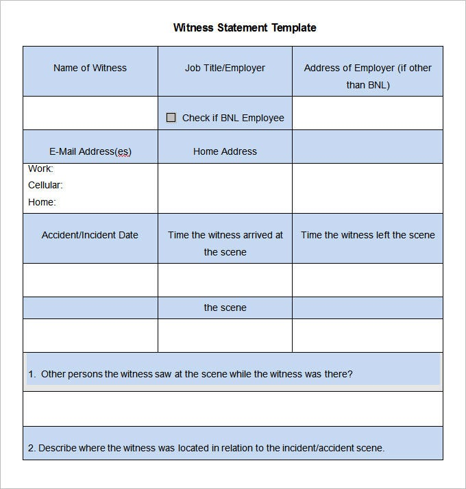 11 Witness Statement Templates - Free Word, Pdf Documents Download