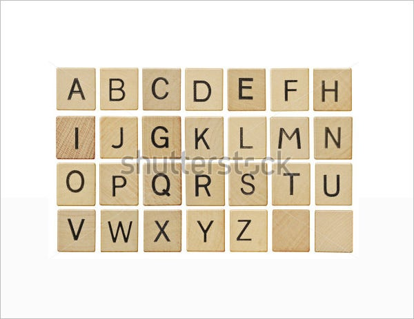 Wooden Scrabble Large Alphabet Letters Template